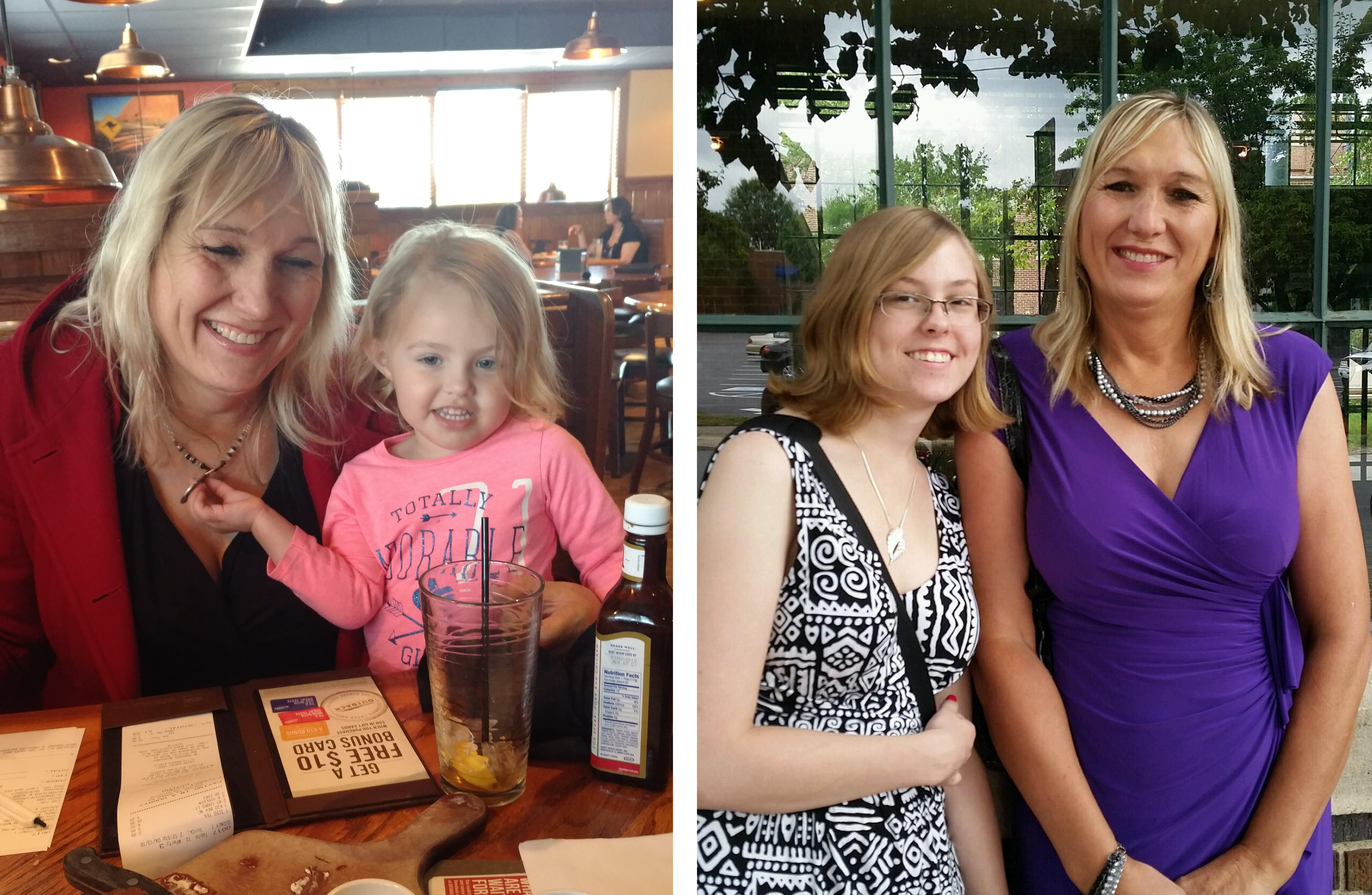 (Right) Ashley with her daughter, Alyssa, in 2014. (Left) Ashley with her granddaughter.
