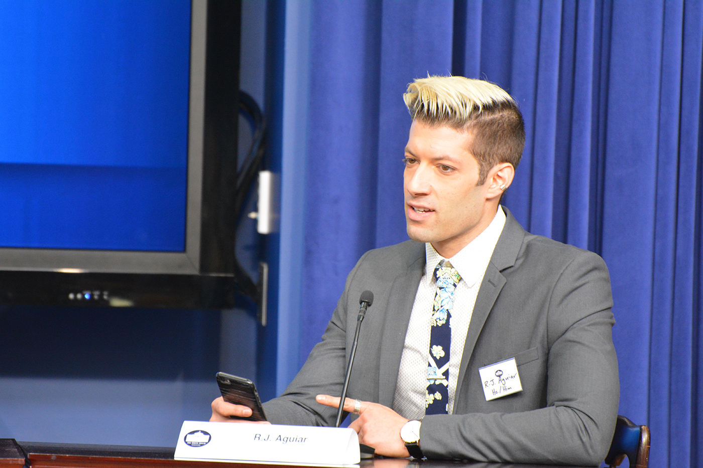 R.J. Aguiar, an advocate, writer, and popular YouTube personality, is also a #BiStories participant. He spoke on the panel at the White House about his experience facing biphobia from within the gay community.