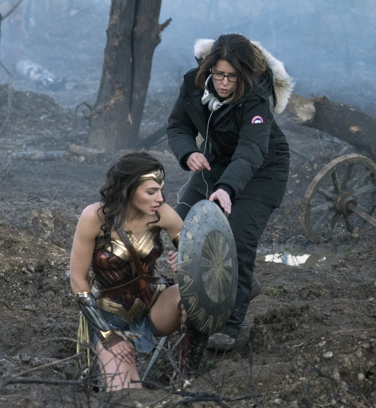 Patty Jenkins and Gal Gadot on the set of 'Wonder Woman'