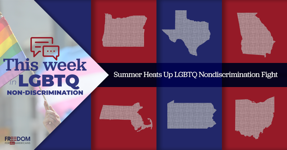 This week in nondiscrimination anti lgbtq moves in tx and oh a show of support in ma and ga for Pro transgender bathroom arguments