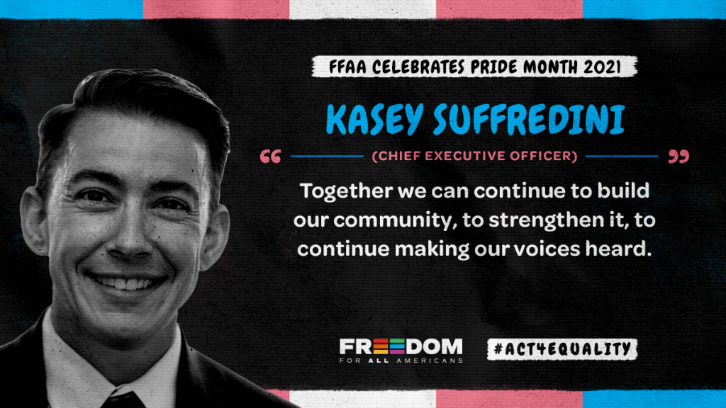 """Kasey Suffredini headshot w/ quote: """"Together we can continue to build our community, to strengthen it, to continue making our voices heard."""""""